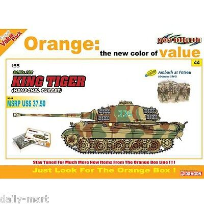 Dragon 1/35 9144 Sd.Kfz.182 King Tiger (Henschel Turret) Model Kit for sale  Shipping to United States