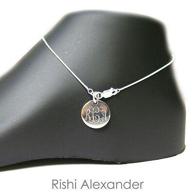 925 Sterling Silver Diamond Cut Snake Monogram Personalized -
