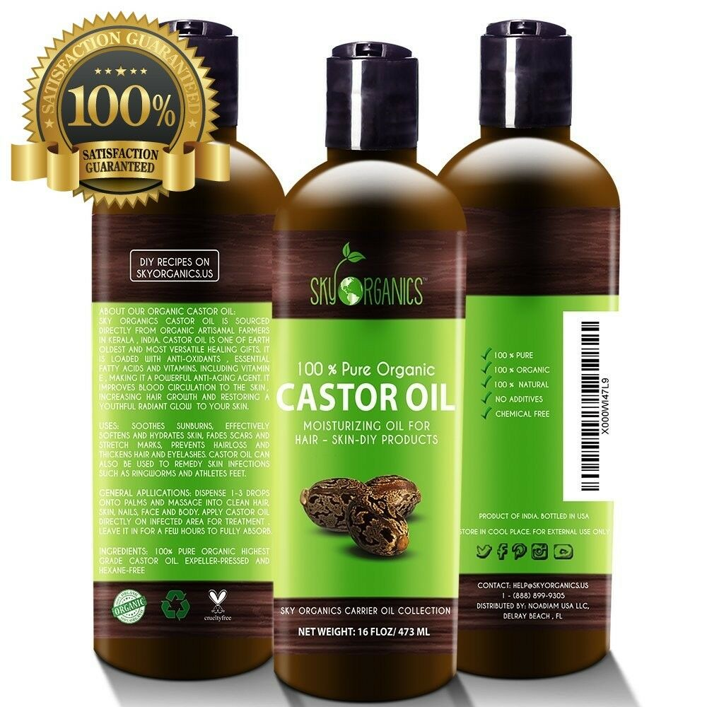 Organic Castor Oil By Sky Organics 16oz: Unrefined, 100% Pur