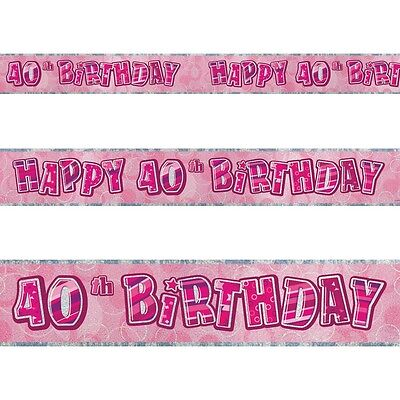 9ft Happy 40th Birthday Pink Sparkle Prismatic Party Foil Banner - 40th Birthday Party Banners