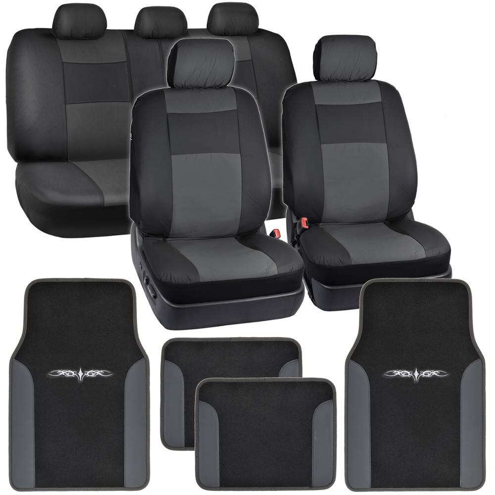 Synthetic Leather Car Seat Covers & Carpet Floor Mats - Black/Charcoal Gray