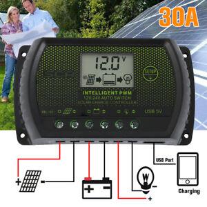 LCD Solar Panel Battery Regulator Charge Controller Dual USB 30A 12V/24V UK
