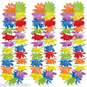 50-PACK-Tropical-Summer-Multicolour-Hawaiian-42-Flower-Lei-Fancy-Dress-Garland