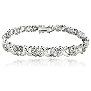 0-50Ct-TDW-Diamond-X-amp-Heart-Bracelet-in-Brass