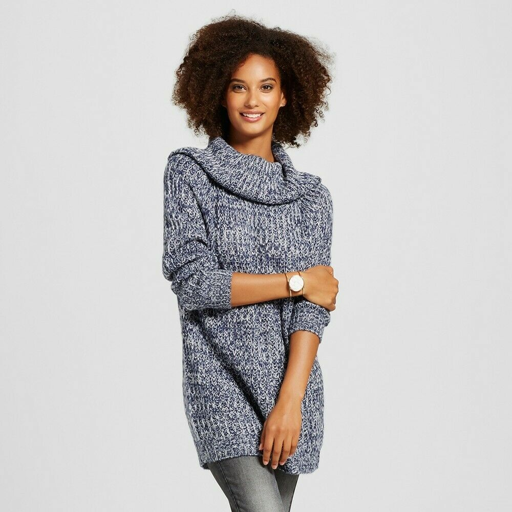 K. By Kersh Women's Turtleneck Pullover Sweater Navy, Blue / White, Medium Clothing, Shoes & Accessories