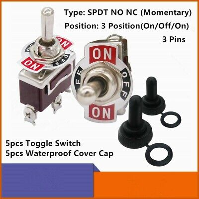 5pcs Heavy Duty Momentary On-off-on Toggle Switch 5pcs Waterproof Cover