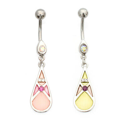 Belly Button Ring with Teardrop Shape and Cubic Zirconia Stone Design 14g
