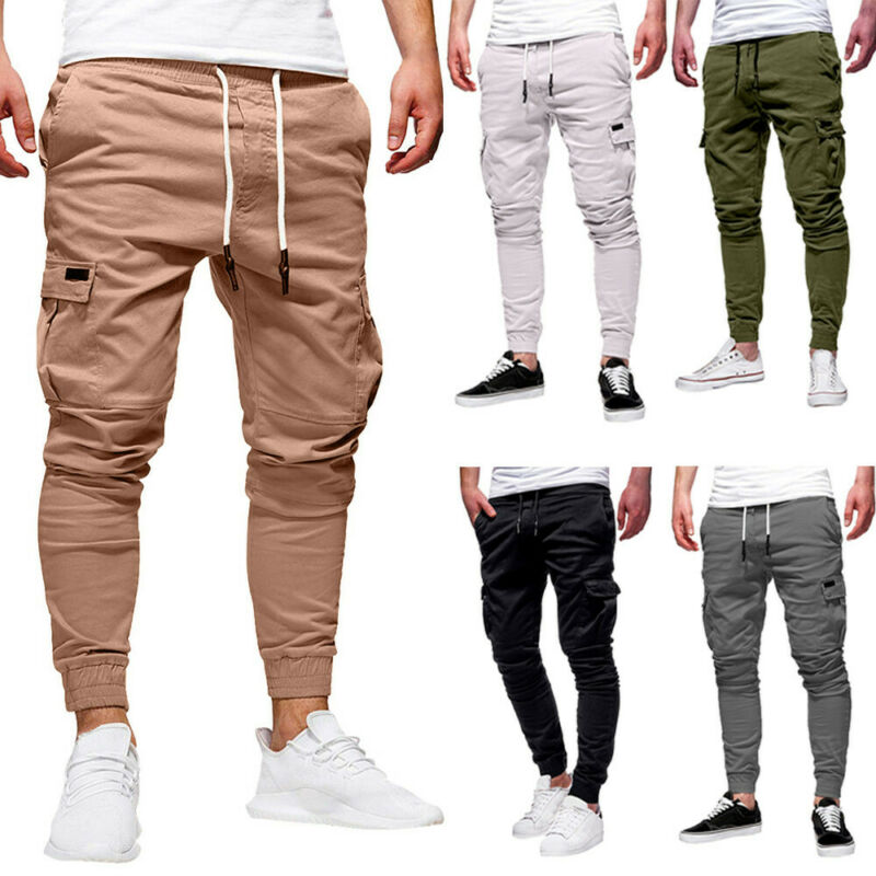 Men Sport Pure Color Bandage Casual Trousers Daily Drawstrin