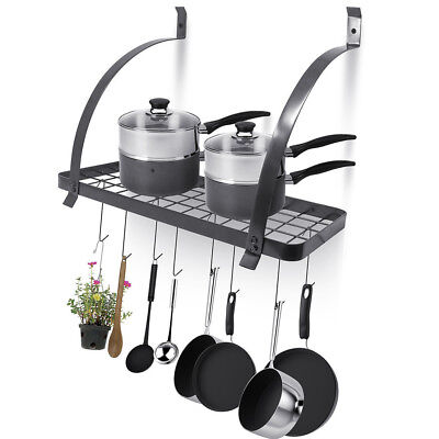 Wall Mount Kitchen Pot Pan Utensils Rack Cookware Holder Hanger Shelf Organizer