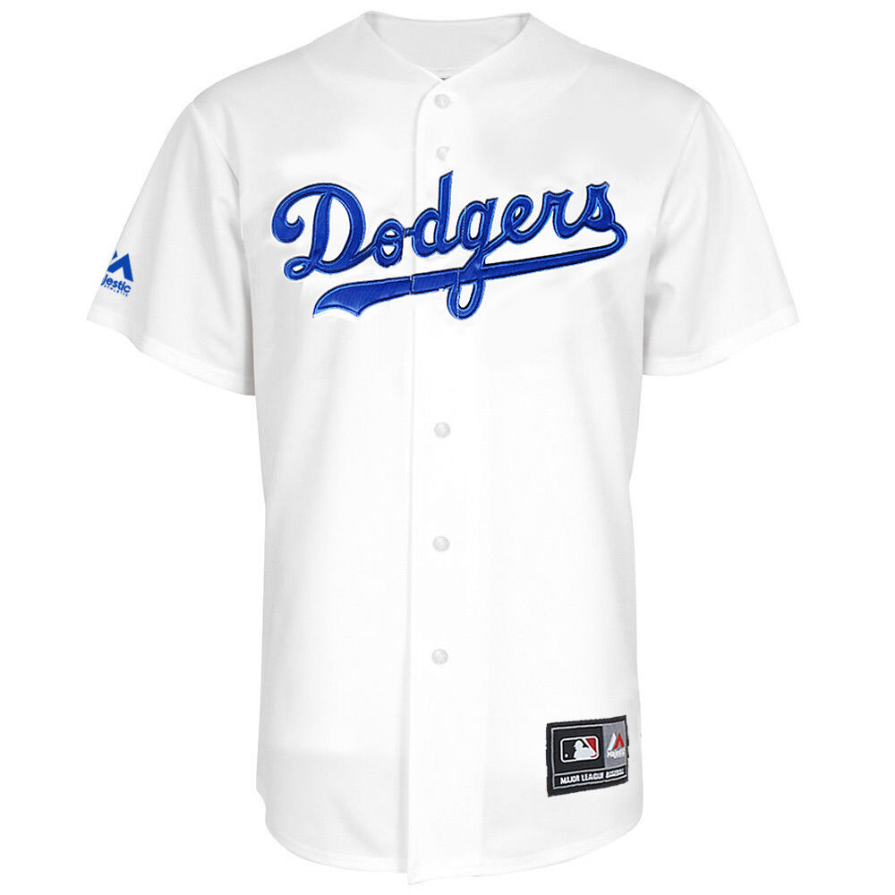 sports shoes 62d9e 638e7 Details about Majestic MLB Los Angeles Dodgers Home Replica Jersey - White