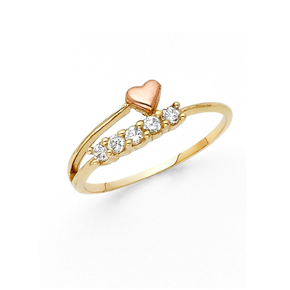 8313cc7da Details about Solid 14k Yellow Rose Gold Heart Ring CZ Five Stone Band Love  Style Design Fancy