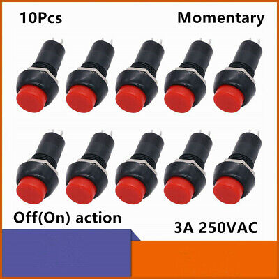 10pcs 12mm Thread Momentary Onoff Mini Push Button Switch 3a 250v 2 Pins Red