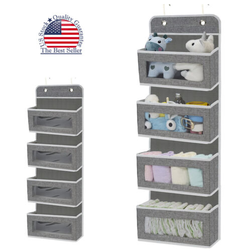 4 Pockets File Organizer Over The Door Wall Mount Hanging Storage for Pantry