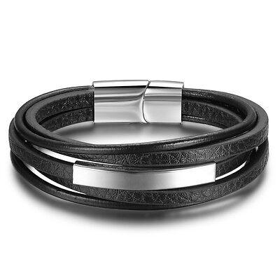 Leder Edelstahl Magnet Armband Damen Herren Lederarmband Armschmuck schwarz 281
