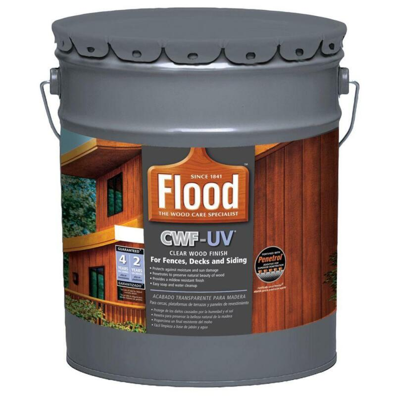 Flood 5 gal Clear CWF UV Oil Based Exterior Wood Finish Cleans up Outdoor Use