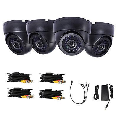 LOT4 1300TVL CCTV Surveillance Security System 4PCS Cables for Video System US