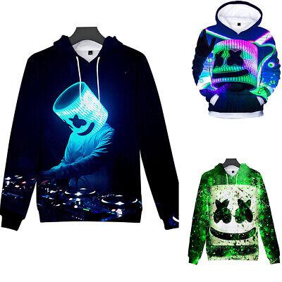 Boys Girls Kids Marshmello DJ Spring Fall 3D Printing Hoodie Sweatshirt Pullover