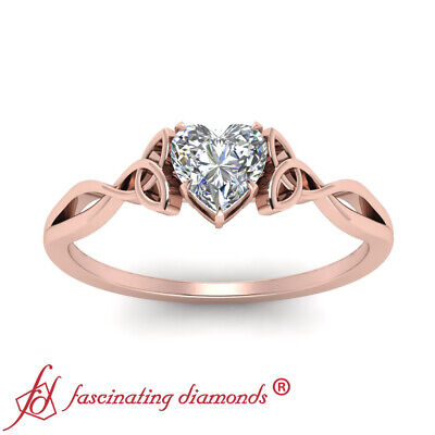 3/4 Carat Heart Shaped Diamond Solitaire Celtic Design Rose Gold Engagement Ring 1