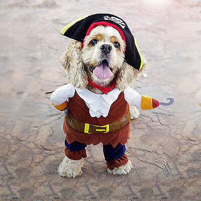 Pirate Pet Costume (Cute Small Dog Party Cosplay Costume Suit Pet Puppy Pirate Police Doctor)