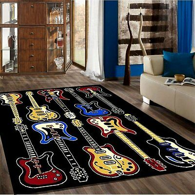 Music Rug (Kids Children Bedroom Fun Musical Theme Rugs Contemporary Carpet Guitar 5' x 7')