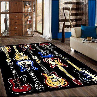 Guitar Rug   Kids Children Bedroom Fun Musical Theme Rugs Contemporary  Carpet Guitar 5 X 7