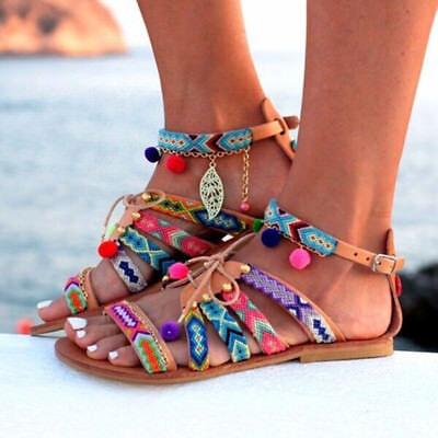 Women Bohemia Sandals Gladiator Leather Sandals Flats Shoes Pom-Pom Sandals