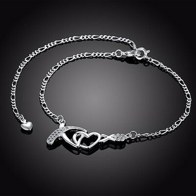 Sterling Silver 925 XOXO Crystal Anklet Bracelet Adjustable Free Gift Bag