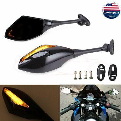 Motorcycle LED Turn Signal Integrated Mirrors For Yamaha Honda CBR RR Suzuki 750