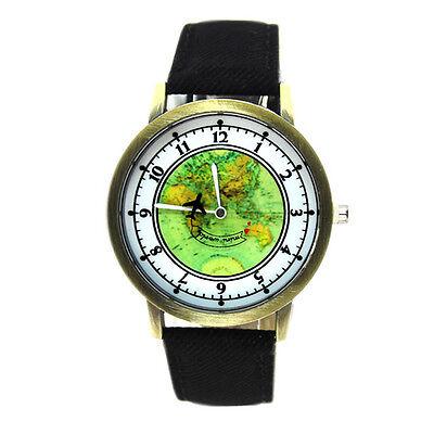 Denim-armband (Neu Weltkarte Globus Bronze Flugzeug Verkleidet Quarz Uhr Schwarz Denim Armband)