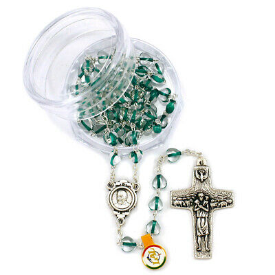 Rosary Green Heart Beads Necklace The Original Pope Francis Cross by Vedele