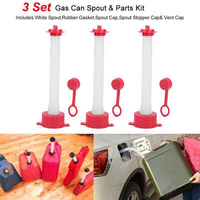 3pcs Gas Can Spouts Parts Kits Blitz Rubbermaid Essence Gott Koplin Rotopax