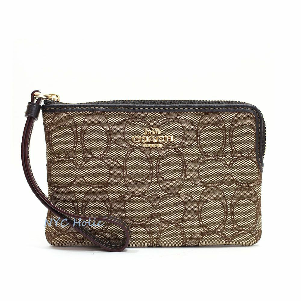 New Coach F58032 F58035 Corner Zip Wristlet With Gift Box New With Tags Khaki Jacquard