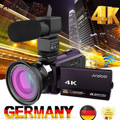 Andoer WiFi 3'' 4K 1080P 48MP Digital Videokamera Camcorder DV+Objektiv+Mic B2U3 (1080p Wifi Camcorder)