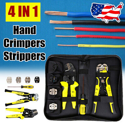 Wire Crimpers Terminal Crimping Ratcheting Pliers Cord End Terminals Tool Set Us