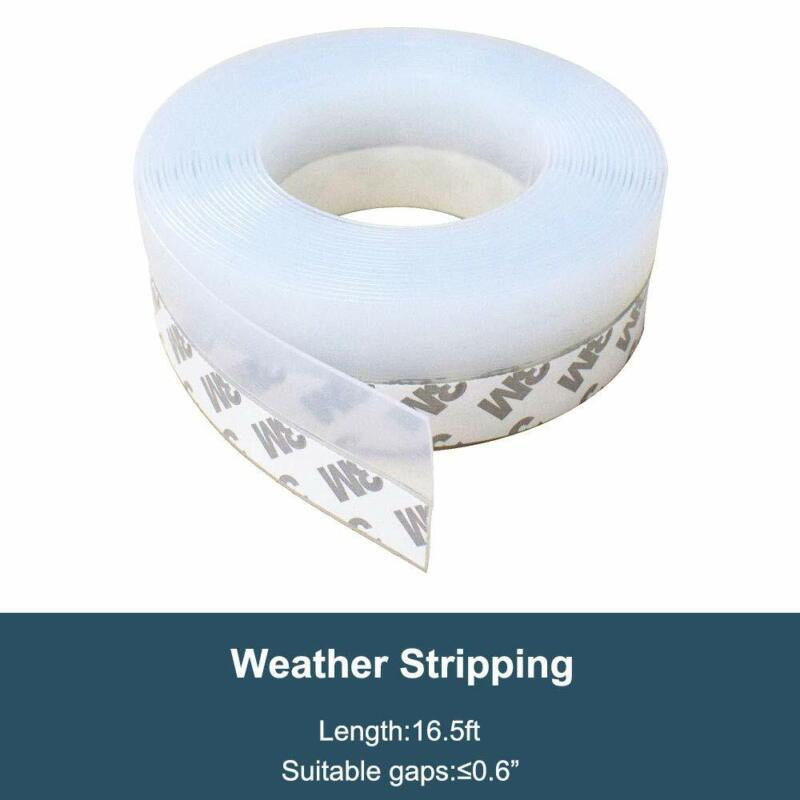 Door Seal Strip Weather Stripping Self Adhesive Sweep Bottom Stopper 1pc16FT/5M