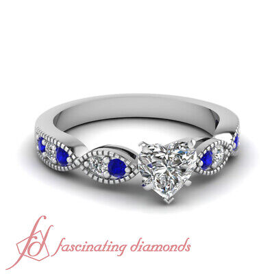Milgrain Engagement Ring With Heart Shape Diamond And Sapphire Gemstone 0.90 Ctw