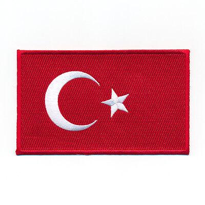 40 x 25 mm Türkei Flagge Türkiye Cumhuriyeti Patch Aufnäher Aufbügler 0633 A