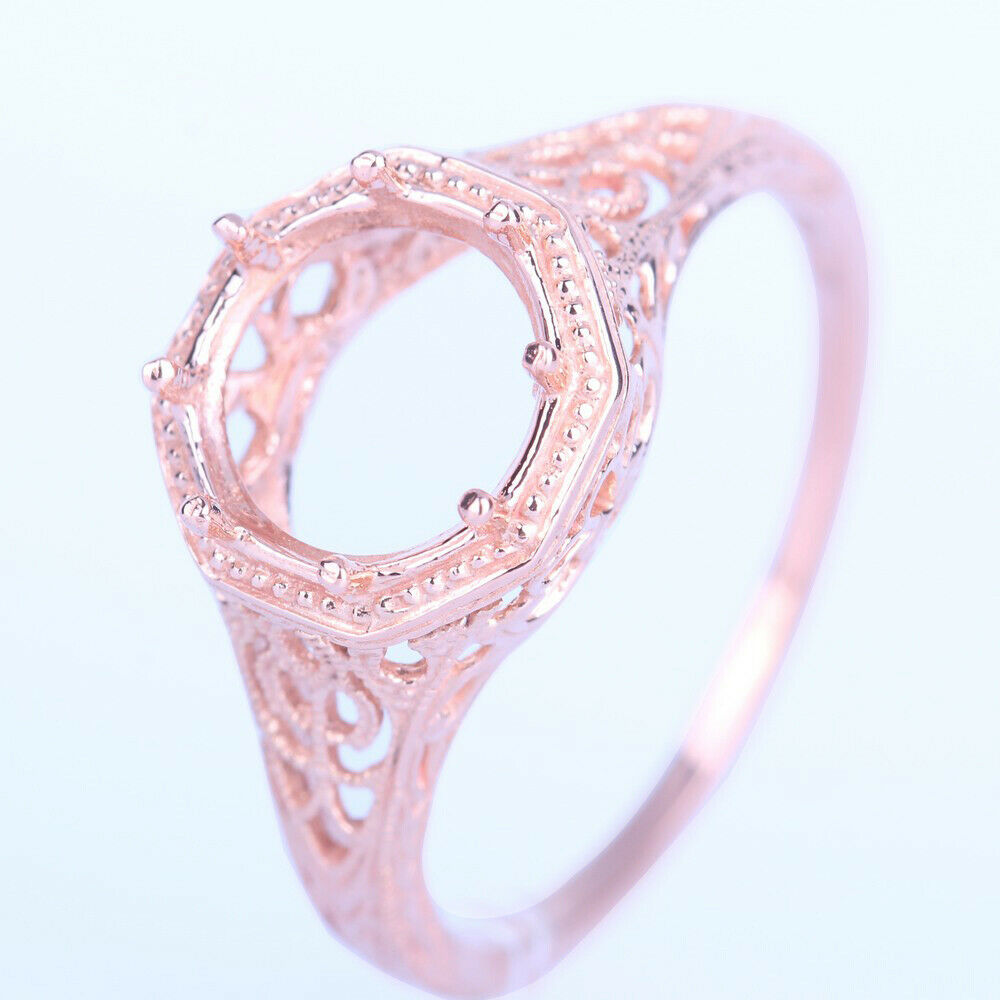 Solid 14K Rose Gold Semi Mount Filigree 7-8mm Round Cut Solitaire ...
