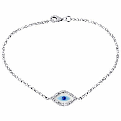 Eye Link Diamond Bracelet - Diamond Evil Eye Bracelet 7 Inch Ladies 14k White Gold Rolo Chain Link 0.12 Ct.