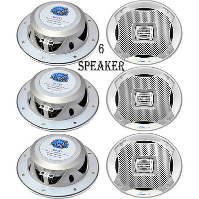 "LOT OF 6) 400W Silver High Quality 6.5"" Marine Car Moto Speakers Indoor Outdoor"