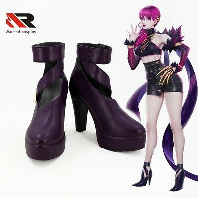 Newest LOL KDA Skin Evelynn Cosplay Shoes Purple High Heel Boots Halloween NEW - Lol Skins Halloween