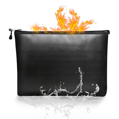 File With Zipper Fireproof Document Bags Safe Storage Pouch Tablet Cash