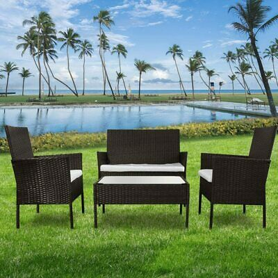 Garden Furniture - 4PCS Patio Ratten Garden Furniture Set Table & Chair Sofa cushion Outdoor indoor