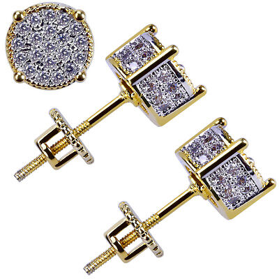 2sets Mens Gold Plated Two Tone Cz Micropave Earring Stud Round Hip Hop US STOCK Gold Plated Round Stud