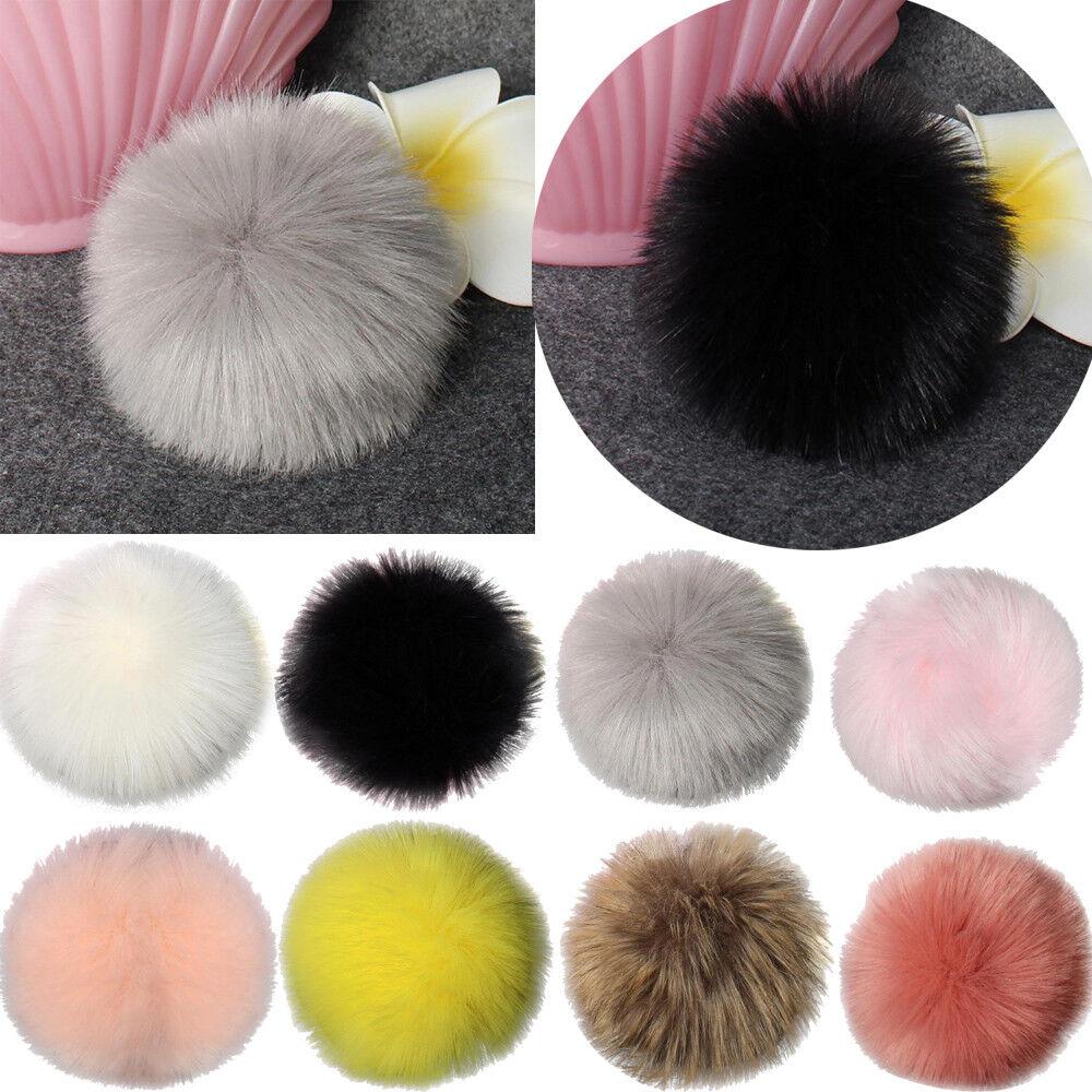 DIY Faux Fox Fur Fluffy Pompom Ball for Knitting Hat Hats mt