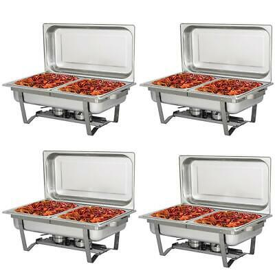 4 Pack 4 L 4.2 Quart Stainless Steel Rectangle Chafing Dish Full Size Chafer