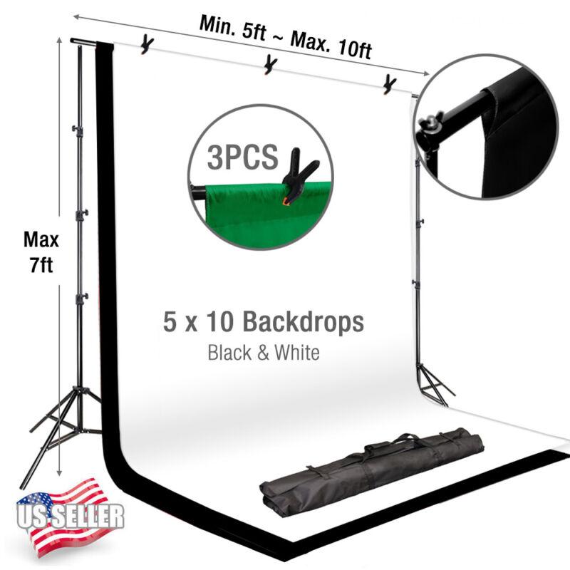"Photo Studio 86"" Background Photography Stand Black White Backdrop Muslin Kit"