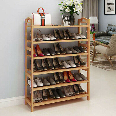 6 Tiers Wood Bamboo Shelf Entryway Storage Shoe Rack Organiz
