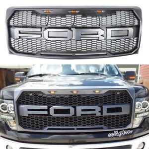 2009-2014 Ford F-150 Raptor Type Grill Upper Gray W/ Amber LED Lights XL STX FX4
