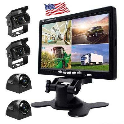 "7"" HD Quad Split Monitor +4x Front Side Backup Rear View Camera For Bus Truck RV"